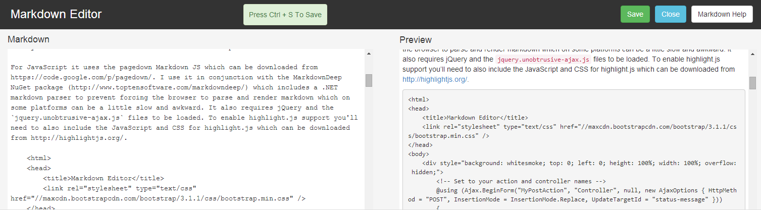 markdown editor window preview